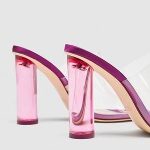 4c0955ad3cb Zara Shoes - ZARA Vinyl Mules Fuchsia Block Heel SZ 6